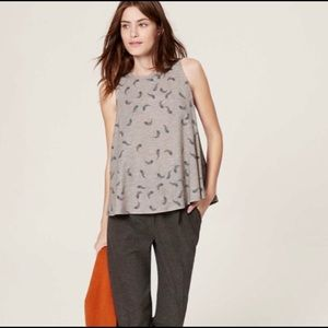LOFT Small Grey Feather Patterned Swing Tank Top